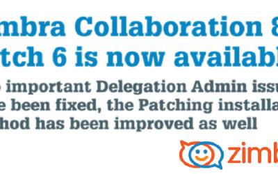 E' disponibile la patch 6 per la versione 8.6 di Zimbra Collaboration.
