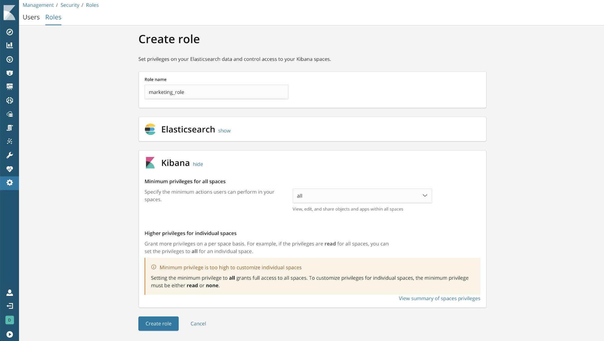 kibana 6.5.0 create role