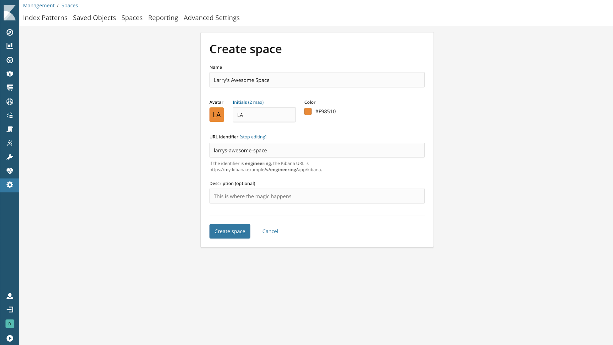 kibana 6.5.0 create space